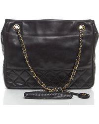 Chanel Black Lambskin Bottom Quilted Vintage Shoulder Bag - Lyst