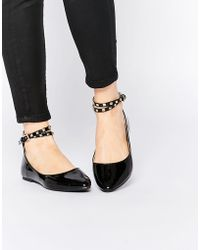 Daisy Street - Black Studded Ankle Strap Ballet Flat Shoes - Lyst