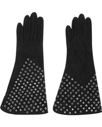 Alaïa Eyelet-embellished Suede Gloves - Lyst