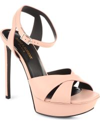 Saint Laurent Classic Tribute Sandals in Pale Blush Leather Pink - Lyst