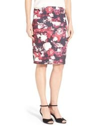 Dex - Floral Print Scuba Knit Pencil Skirt - Lyst