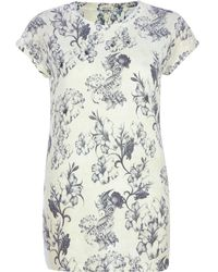 River Island White Floral Print Embellished Tshirt - Lyst