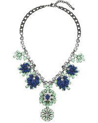 Topshop Jewelled Flower Drop Necklace - Lyst