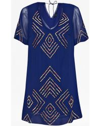 French Connection Confetti Grid Sequin Dress blue - Lyst