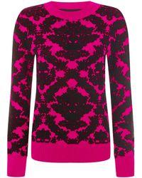 House Of Holland Brocade Knit Sweatshirt Pink - Lyst