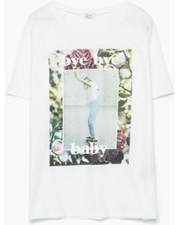 Zara Printed T-Shirt - Lyst