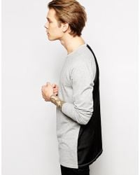 Asos Longline Long Sleeve T-shirt with Sateen Back Panel - Lyst