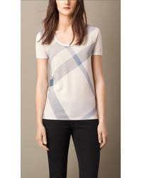 Burberry Check Front Wool T-Shirt - Lyst