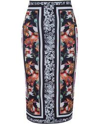 Clover Canyon Red Floral Garden Print Pencil Skirt - Lyst