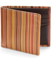 Paul Smith Striped Leather Wallet - Lyst
