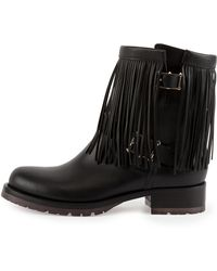 Valentino Fringe Leather Biker Boot - Lyst