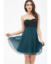Forever 21 Lace-Paneled Pleated Dress - Lyst