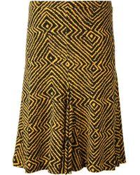 MICHAEL Michael Kors Printed Flared Skirt - Lyst