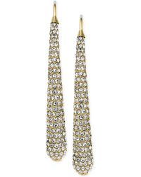Michael Kors Gold-Tone Pavé Long Drop Earrings - Lyst