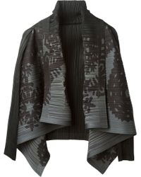 Pleats Please By Issey Miyake Black Pleated Cardigan - Lyst