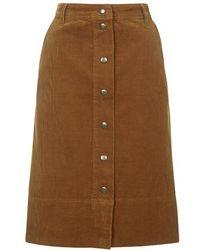 Topshop Cord Button Through Midi Skirt - Lyst