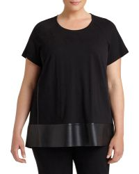 Lafayette 148 New York - Relaxed Swing Top W/ Leatherette Trim - Lyst