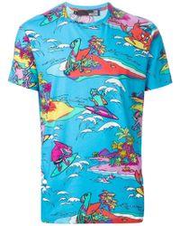 Love Moschino Animal Surfer Print T-Shirt - Lyst