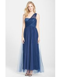 Vera Wang Metallic Lace Bodice Tulle One-Shoulder Gown - Lyst