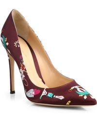 Mary Katrantzou - Lisa Printed Satin Pumps - Lyst