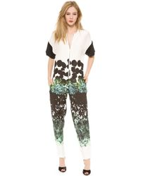 Cedric Charlier - Printed Short Sleeve Jumpsuit - Lyst