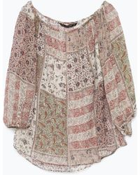 Zara Multicolor Off-Shoulder Blouse - Lyst
