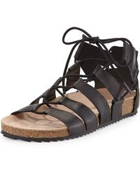 Loeffler Randall Pascal Leather Lace-Up Flat Sandal - Lyst