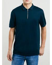 Topman Blue Zip Polo Shirt - Lyst