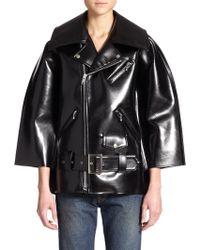Junya Watanabe Patent Faux-Leather Biker Jacket - Lyst