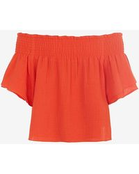 Apiece Apart Off The Shoulder Crop Top: Orange red - Lyst