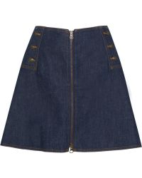 See By Chloé Flared Stretchdenim Mini Skirt - Lyst