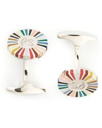 Paul Smith Striped Disc Cufflinks - Lyst