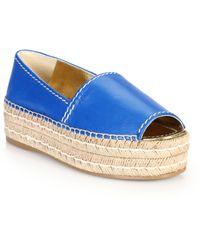 Prada Platform Open-Toe Leather Espadrilles blue - Lyst
