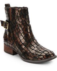 Donald J Pliner Plata Patent Croc-Print Leather Ankle Boots - Lyst