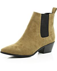 River Island Light Brown Suede Pointed Toe Chelsea Boots - Lyst