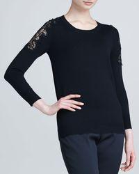 Lela Rose Laceapplique Crewneck Sweater - Lyst