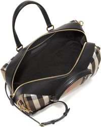 Burberry | Alchester Medium House Check Cotton & Leather Bowler Bag | Lyst