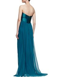 Notte by Marchesa Strapless Chiffon Gown with Bow Peacock - Lyst
