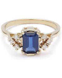 Anna Sheffield Bea Arrow Ring (Petit) - Blue Sapphire & White Diamonds blue - Lyst