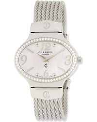 Charriol - Darling Mother-of-pearl & Diamond Pave Micro-cable Bracelet Watch - Lyst