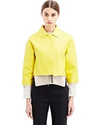 Marni Womens Cropped Leather Jacket - Lyst