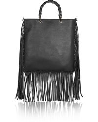 Gucci Fringed Textured-leather Tote - Lyst