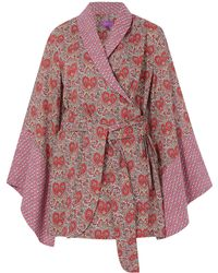 Liberty - Red Kitty Grace And Heart Canopy Cotton Kimono - Lyst