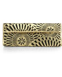 Nancy Gonzalez Metallic Two-Tone Laser-Cut Crocodile Clutch - Lyst