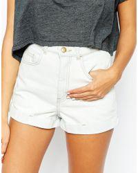 American Apparel High Rise Denim Cuff Shorts