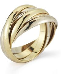 Cartier Pre-owned 18k Tri-color Five Band Ring - Lyst
