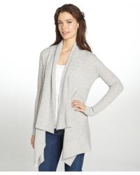 Autumn Cashmere Heather Grey Ribbed Cashmere Beveled Front Cardigan - Lyst