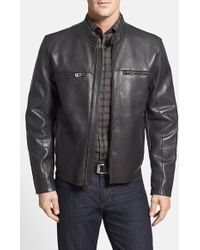 Cole Haan Bonded Leather Moto Jacket - Lyst