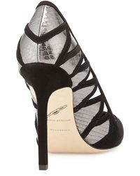 B Brian Atwood Nicolette Suede  Snakeskin Pump - Lyst