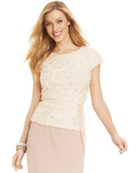 Alex Evenings Short-Sleeve Sequined Rosette Blouse - Lyst